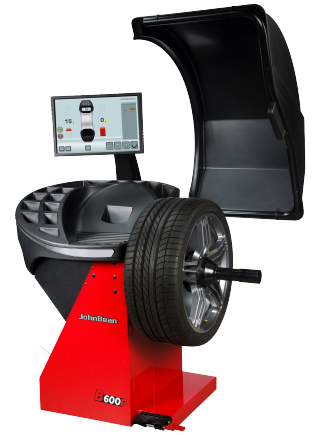 The John Bean B600P is a professional touchscreen wheel balancer for cars, light trucks and motorcycles – with 2D SAPE (Semi-Automatic Parameter Entry) and Smart Sonar input for automatic measurement of wheel offset, wheel diameter and wheel width, a pinpoint laser indicator for weight placement, and patented power clamping.