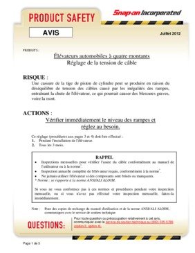 Four Post Lift Leveling Advisory (French)